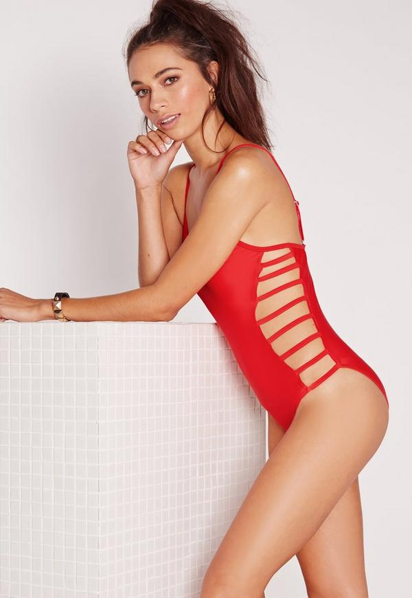 Strappy Side Swimsuit Red