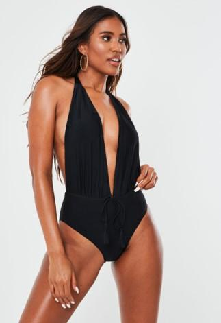 Black Deep Plunge Backless Swimsuit