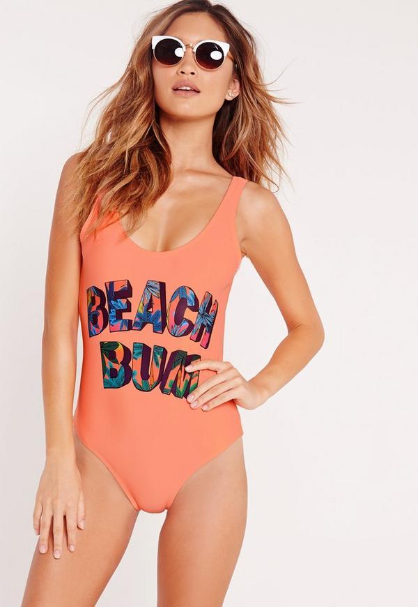 Beach Bum Slogan Swimsuit Orange