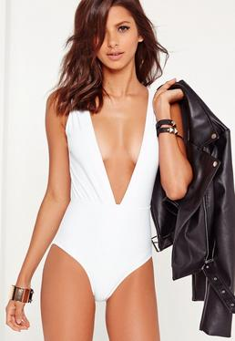 White Deep Plunge Neck Swimsuit