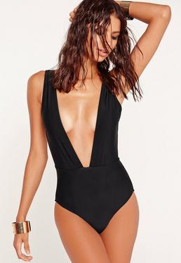 Black Deep Plunge Neck Swimsuit