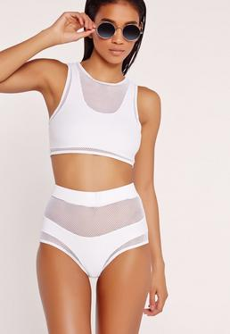 Mesh Detail High Waisted Bikini Set White