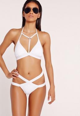Bikini blanc effet harnais