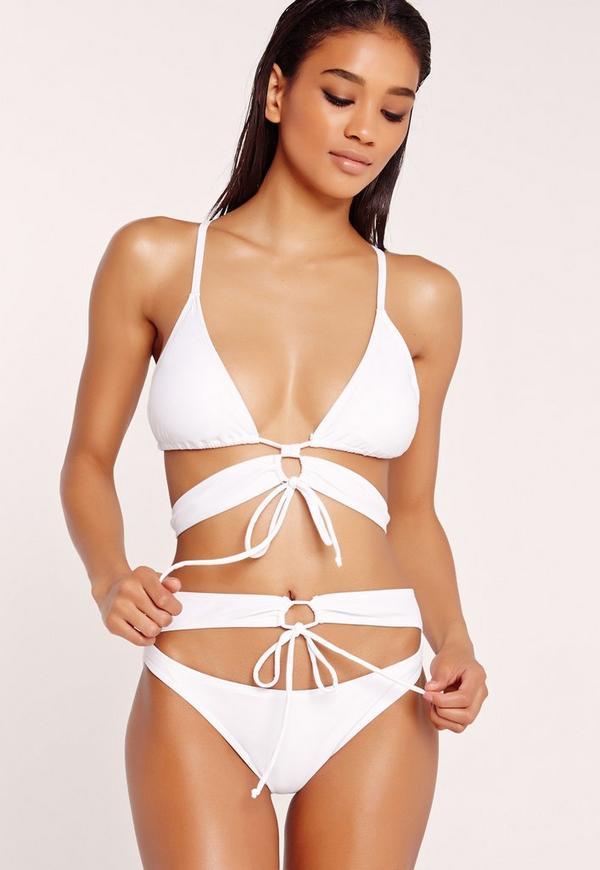 Strappy Cross Back Bikini Set White