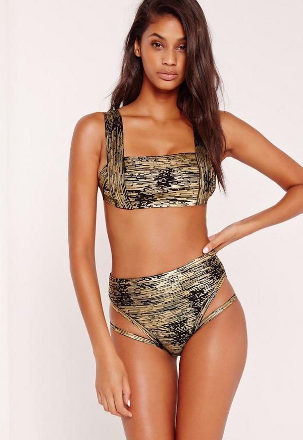 Premium Bandage Bikini Set Gold