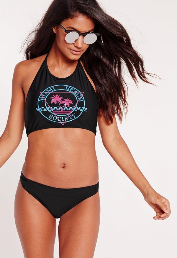 Miami Beach Society High Neck Bikini Set Black