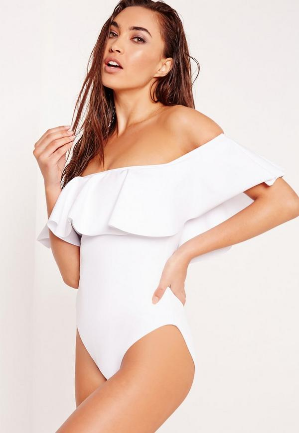 ABAD x Missguided Frill Bardot Swimsuit White