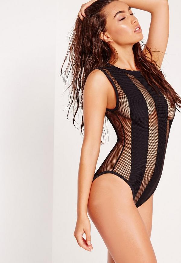 ABAD x Missguided Mesh Swimsuit Black