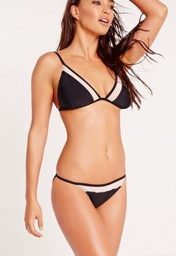 ABAD x Missguided Mesh Mix Triangle Bikini Set Black