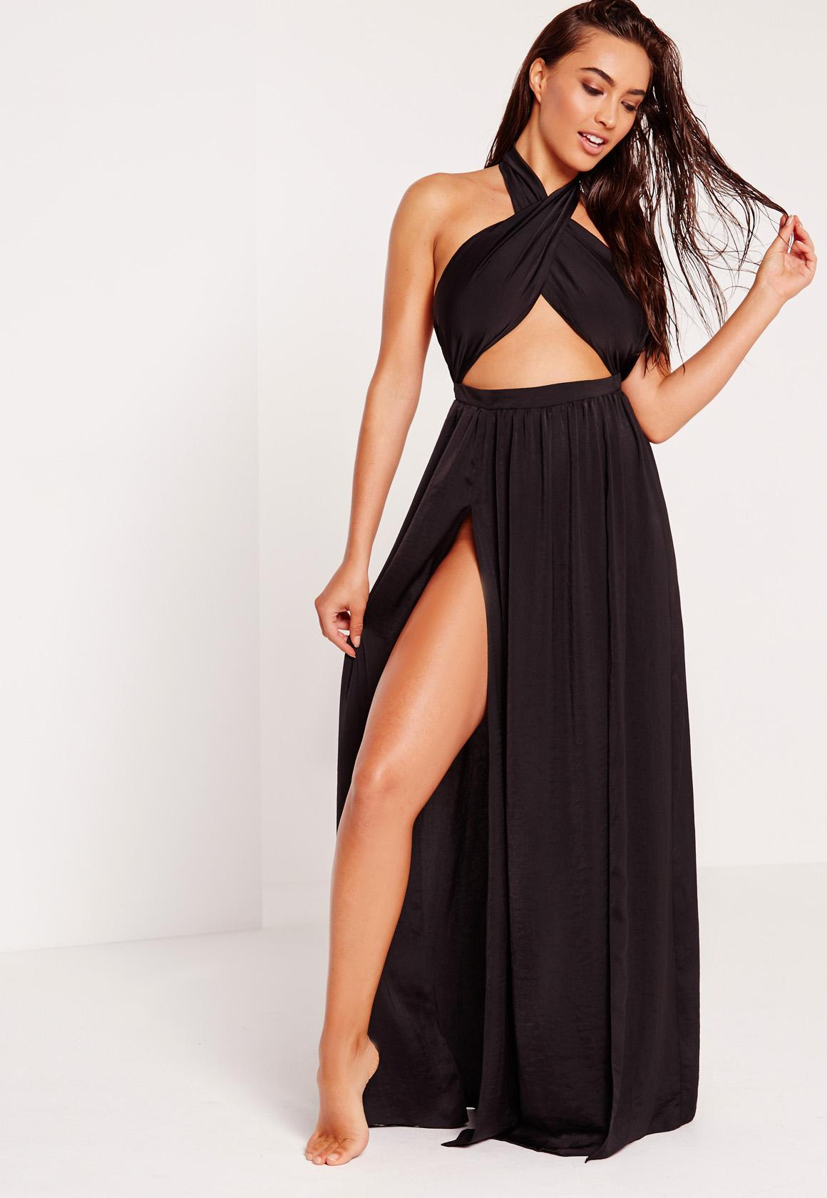 ABAD x Missguided Halter Neck Maxi Beach Dress Black | Missguided