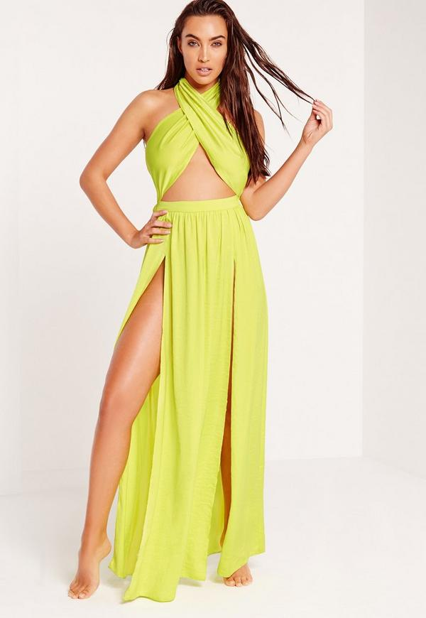 ABAD x Missguided Halter Neck Maxi Beach Dress Green