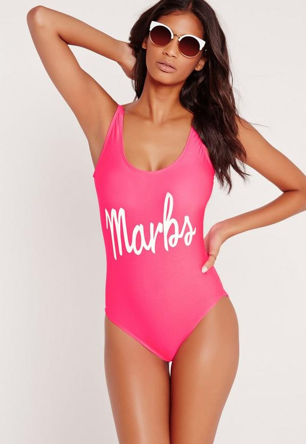 Marbs High Leg Swimsuit in Hot Pink
