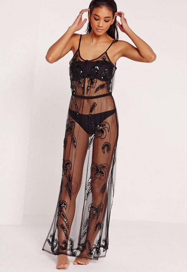ABAD x Missguided Embellished Cover Up Beach Maxi Dress Black