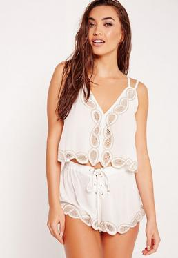 ABAD x Missguided Embroidered Lace Up Beach Cami Top White