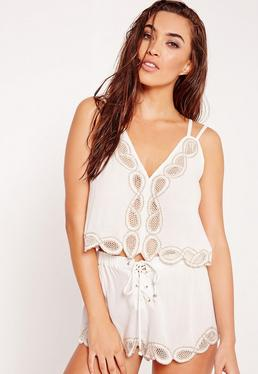 ABAD x Missguided Embroidered Lace Up Beach Shorts White