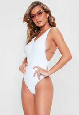White High Leg Drop Side Swimsuit