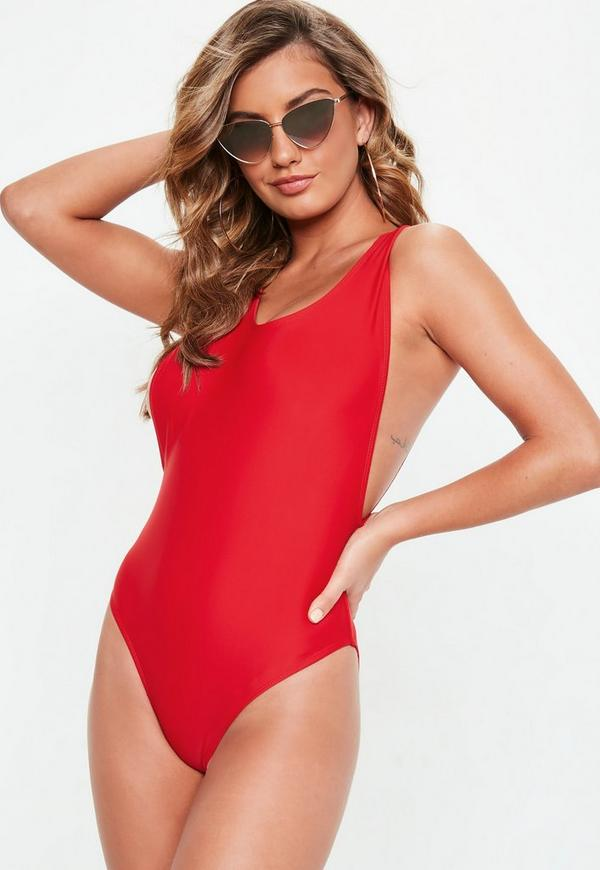 Red High Leg Swimsuit