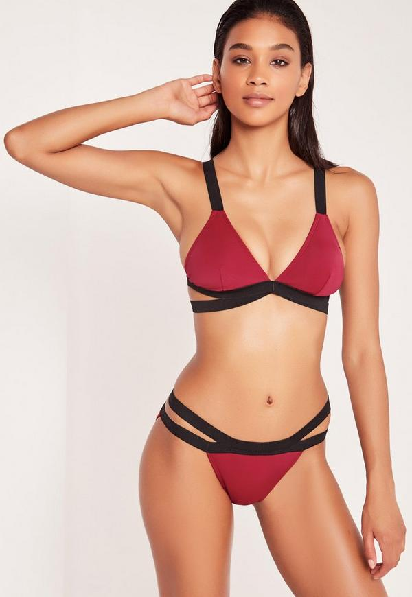 Double Strap Crossover Bikini Set Burgundy