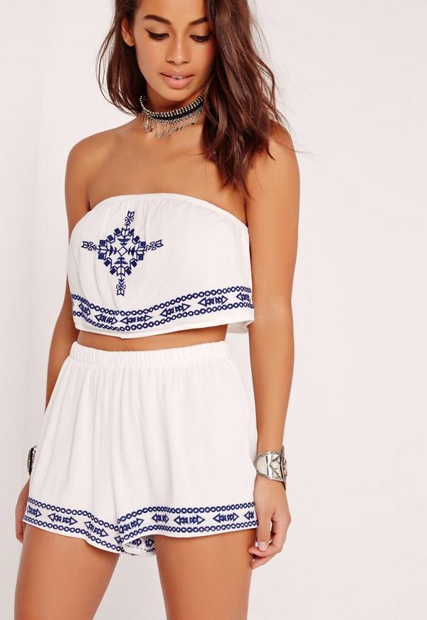 Embroidered Beach Bandeau Top Blue