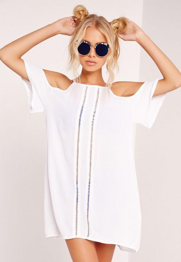 Cold Shoulder Beach Dress White