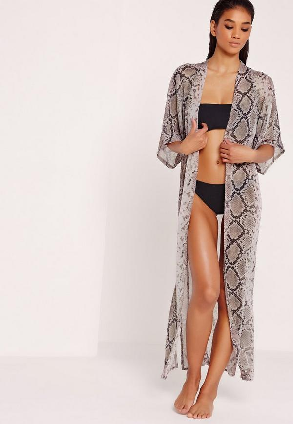 Printed Maxi Beach Kimono
