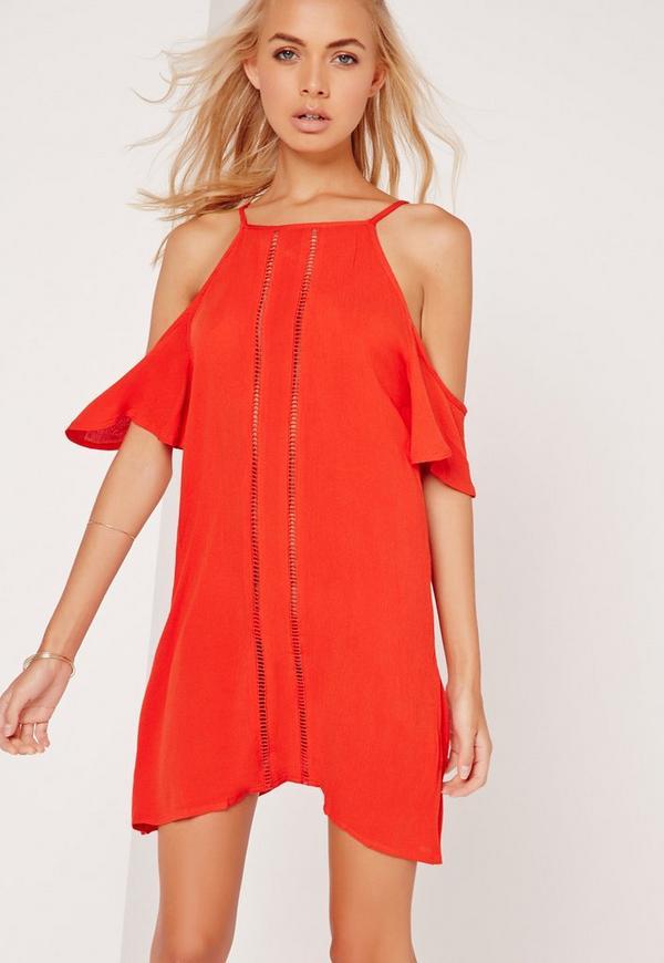 Cold Shoulder Beach Dress Orange