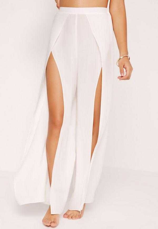 Split Front Beach Pants White Missguided