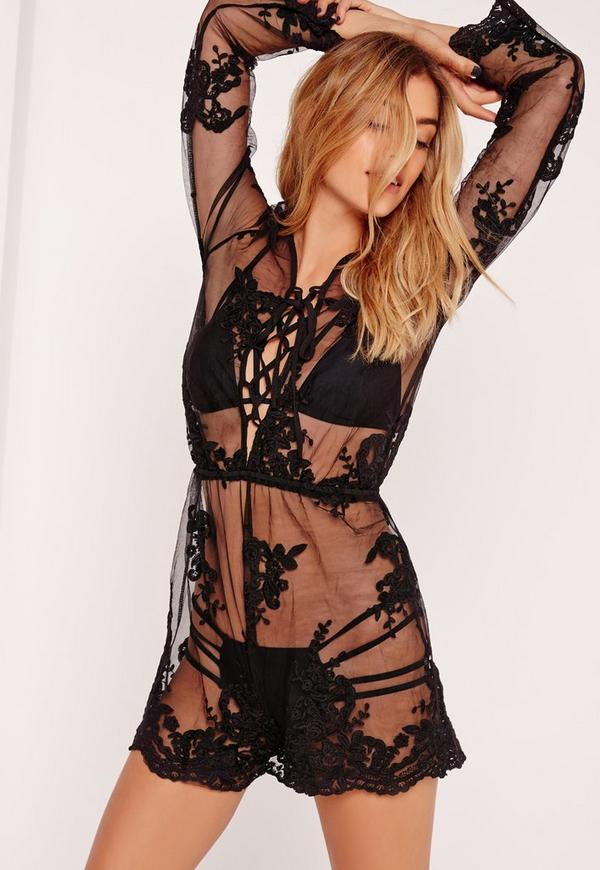Organza Lace Beach Playsuit Black