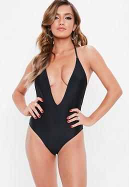 Black Skinny Strap Plunge Swimsuit