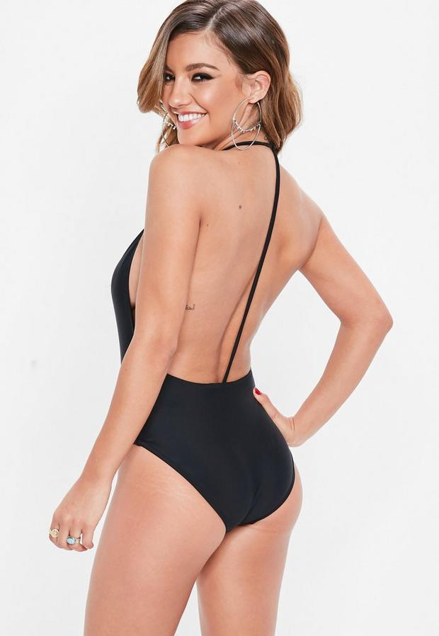 f50beced91990 Missguided Black Skinny Strap Plunge Swimsuit, Black at £15 | love ...