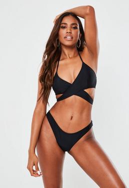 Bikini-Oberteil mit überkreuzter Vorderseite in Schwarz – Mix & Match