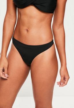 Bas de bikini string noir