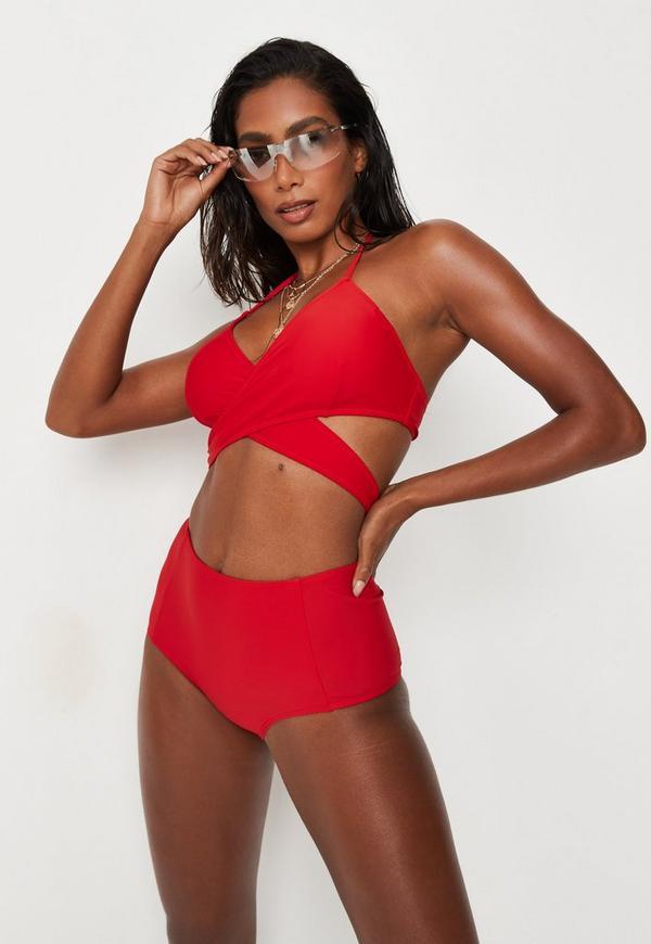 Red High Waisted Bikini Bottoms - Mix & Match