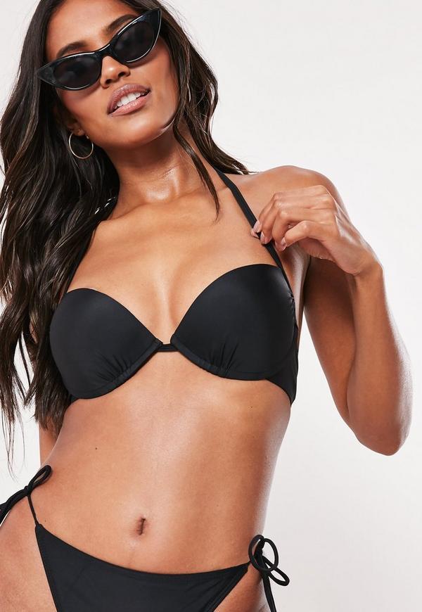 schwarzes push up neckholder bikini oberteil mix match missguided. Black Bedroom Furniture Sets. Home Design Ideas