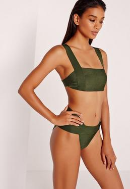 Premium Square Neck Bandage Bikini Set Khaki
