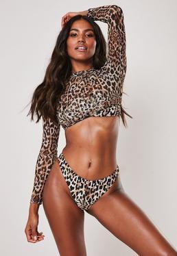 d2ceb3cd7 Brown Leopard Print 3 Piece Bikini Set