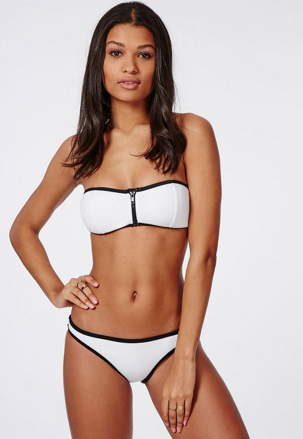 Neoprene Hipster Bikini Bottoms White - Mix & Match