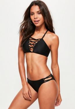 Lattice Front Bikini Set Black