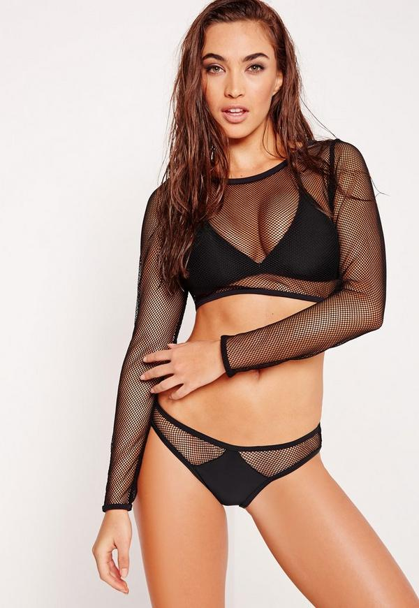 ABAD x Missguided Fishnet 3 Piece Bikini Set Black