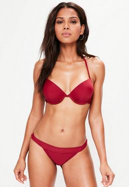 Burgundy Underwired Push Up Bikini Top - Mix & Match