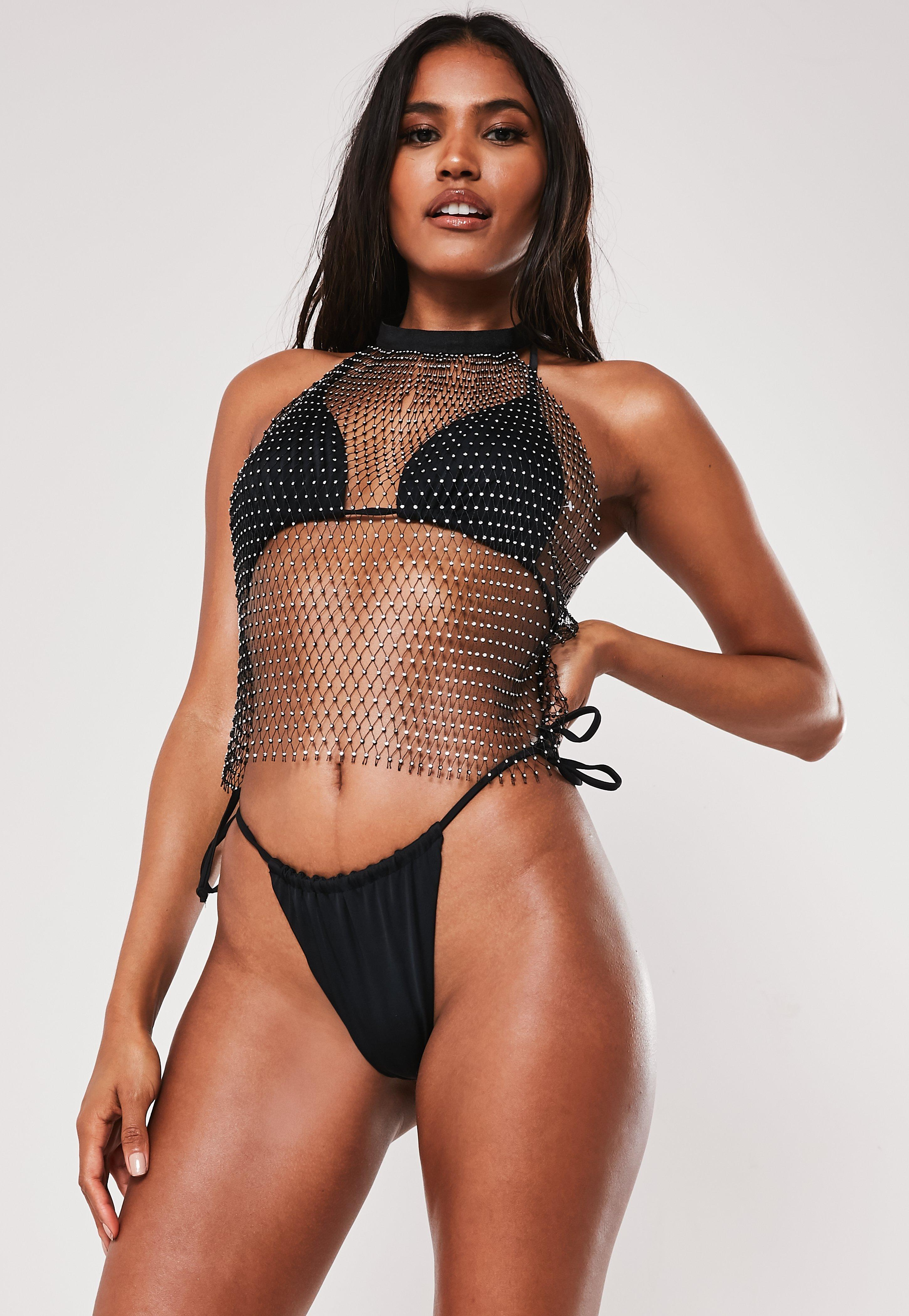 Premium Black Fishnet Jewelled Top by Missguided