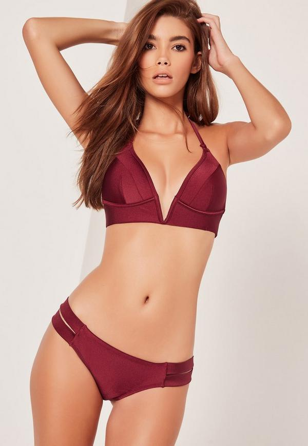 bikini bordeaux soyeux plongeant missguided. Black Bedroom Furniture Sets. Home Design Ideas