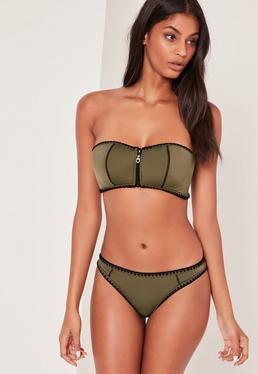 Neoprene Stitch Detail Bikini Set Khaki