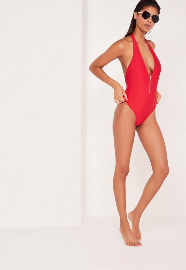 Zip Detail Deep Plunge Swimsuit Red