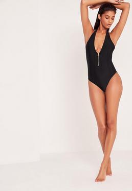 Black Zip Detail Deep Plunge Swimsuit