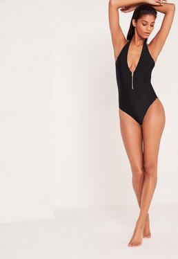 Zip Detail Deep Plunge Swimsuit Black