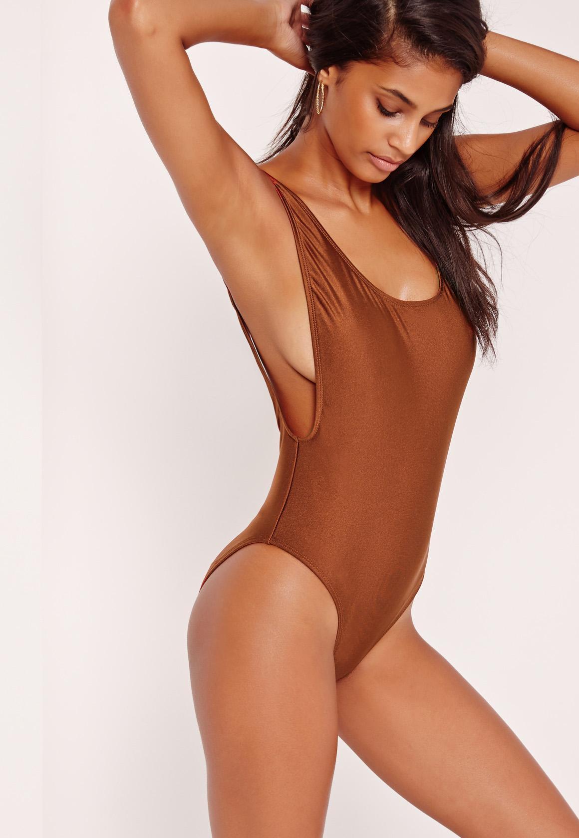 b57c8ff64dc4a Brown High Leg Drop Side Swimsuit