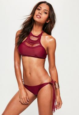 Burgundy Crochet Insert Braided Bikini Set