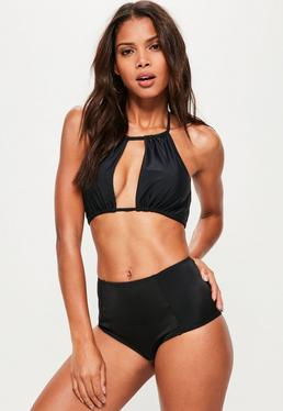 Black Gathered Open Front Bikini Top - Mix & Match