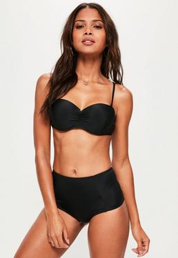 Black Ruched Detail Bandeau Bikini Top - Mix & Match